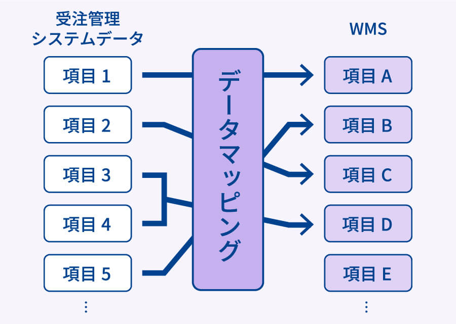 受注管理システムデータ 項目1 項目2 項目3 項目4 項目5 データマッピング WMS 項目A 項目B 項目C 項目D 項目E